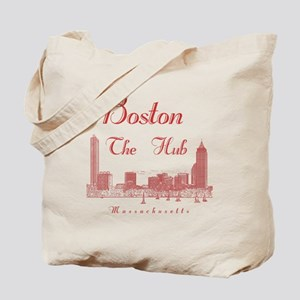 Boston_10x10_Skyline_TheHub_Red Tote Bag