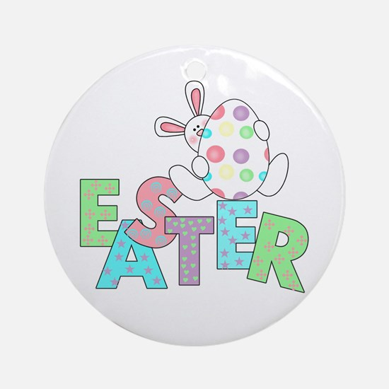 Bunny With Easter Egg Ornament (Round)