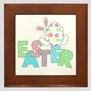 Bunny With Easter Egg Framed Tile