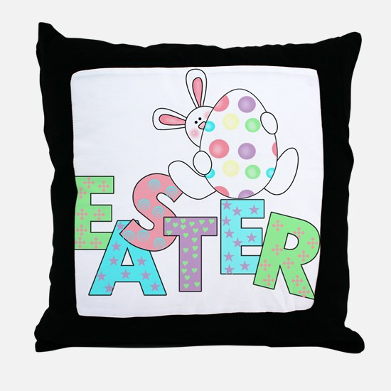 Bunny With Easter Egg Throw Pillow