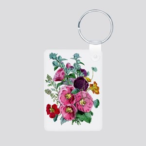 hollyhocks Aluminum Photo Keychain