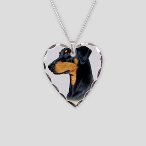 Dobermann Necklace Heart Charm