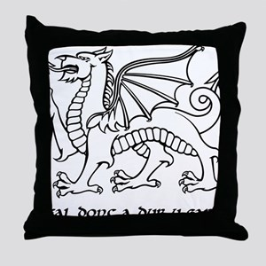 y ddraig goch garreg (black and white Throw Pillow