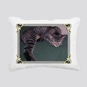 Napping Cat-Scroll-M Rectangular Canvas Pillow