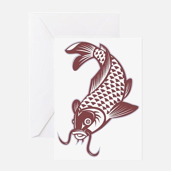 Catfish fish swimming down Greeting Card