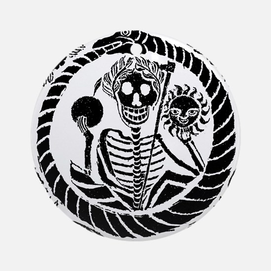 Skeleton and snake square Round Ornament