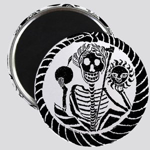 Skeleton and snake square Magnet