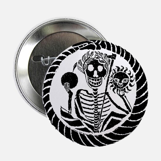 """Skeleton and snake square 2.25"""" Button"""