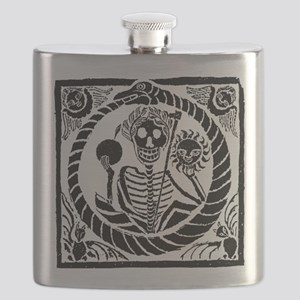 Skeleton and snake square Flask