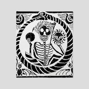 Skeleton and snake square Throw Blanket