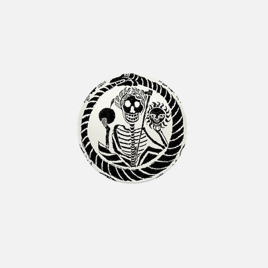 Skeleton and snake square Mini Button