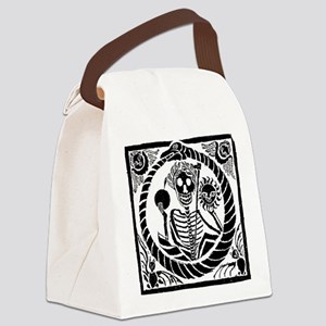 Skeleton and snake square Canvas Lunch Bag
