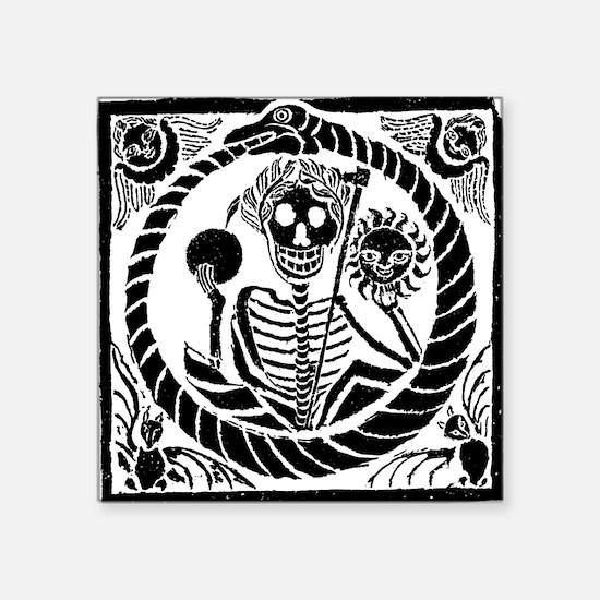 "Skeleton and snake square Square Sticker 3"" x 3"""