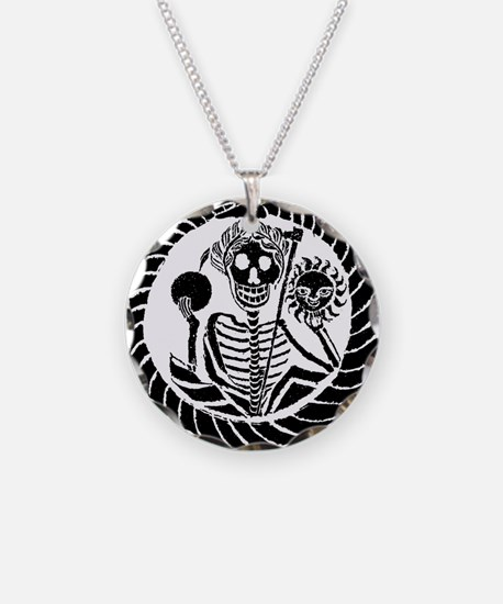 Skeleton and snake square Necklace