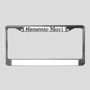 Menento Mori text black License Plate Frame