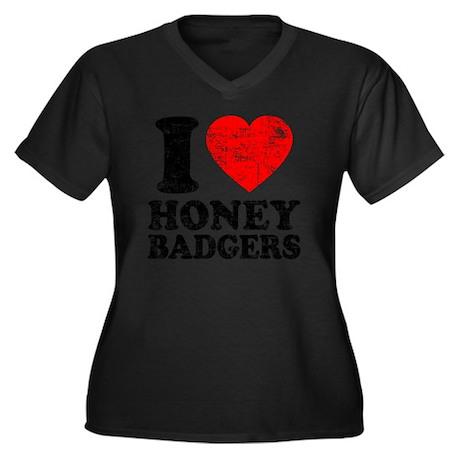 I Love Honey Women's Plus Size Dark V-Neck T-Shirt