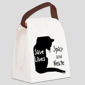 BLACKsavelivescat Canvas Lunch Bag