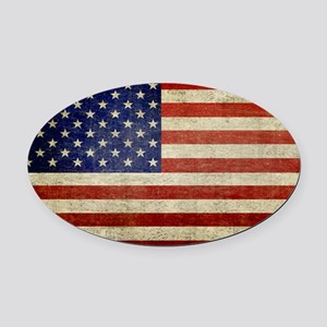 5x3rect_sticker_american_flag_old Oval Car Magnet