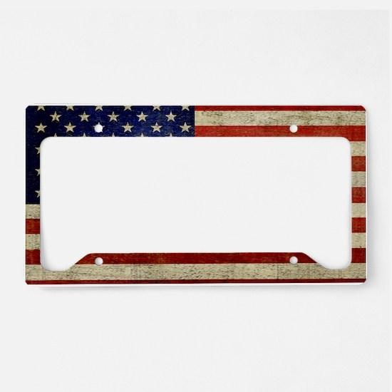 5x3rect_sticker_american_flag License Plate Holder
