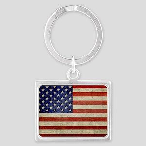 5x3rect_sticker_american_flag_o Landscape Keychain