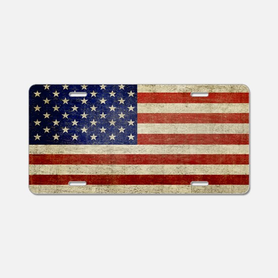 5x3rect_sticker_american_fl Aluminum License Plate