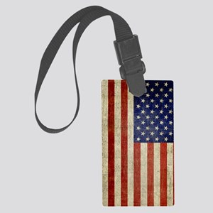 5x8_journal_old_american_flag_us Large Luggage Tag
