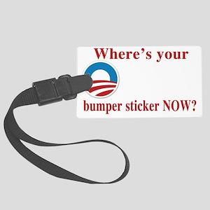 obama sticker(blk) Large Luggage Tag
