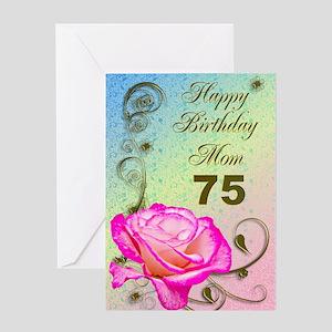 75th Birthday Card For Mom Elegant Rose Greeting