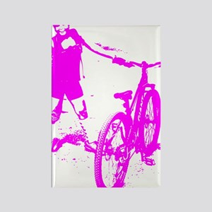 Girl with bike Rectangle Magnet