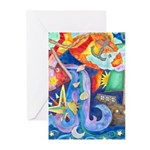 Surreal Seascape Watercolor Greeting Cards (Pk of