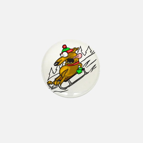 Snow Sledding Dog Mini Button