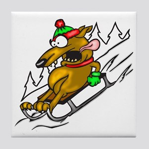 Snow Sledding Dog Tile Coaster