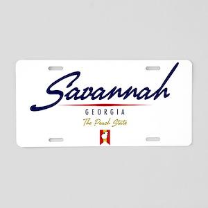 Savannah Script W Aluminum License Plate