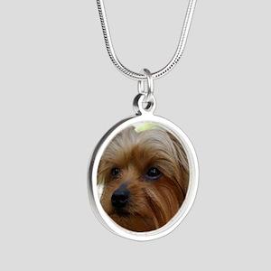 YorkieMousepad Silver Round Necklace