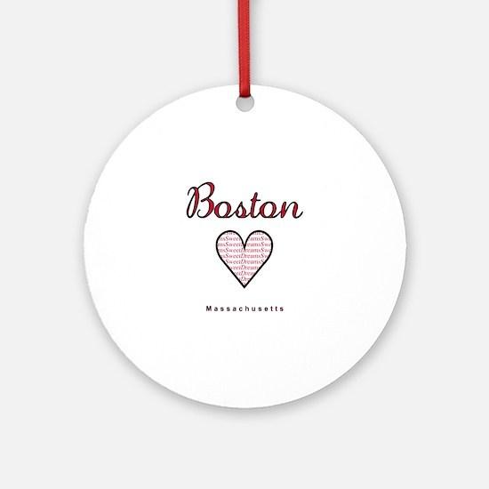 Boston_10x10_Massachusetts_SweetDre Round Ornament