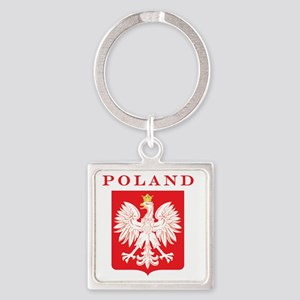Polish Eagle Red Shield Square Keychain
