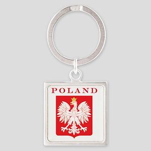 Polish Eagle Red Shield Square Keychain