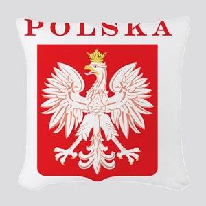 Polska Eagle Red Shield Woven Throw Pillow