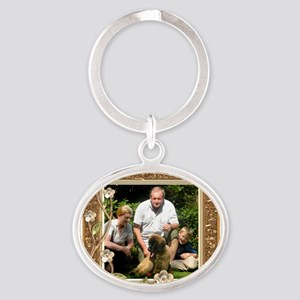 Personalizable Golden Flowers Frame Oval Keychain