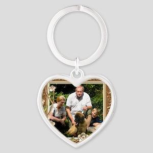 Personalizable Golden Flowers Frame Heart Keychain