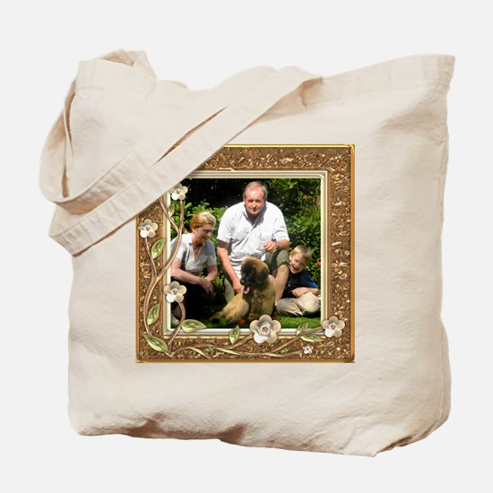Personalizable Golden Flowers Frame Tote Bag