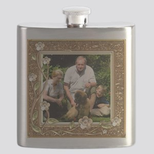 Personalizable Golden Flowers Frame Flask