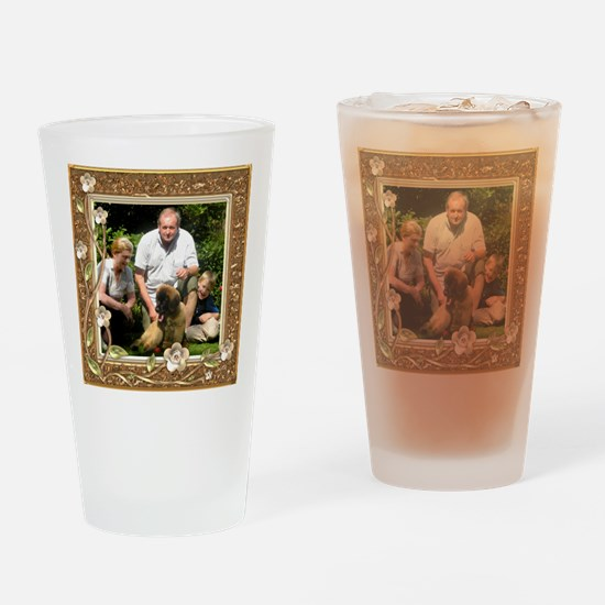 Personalizable Golden Flowers Frame Drinking Glass