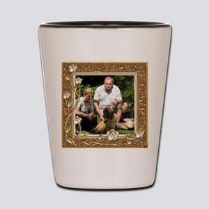 Personalizable Golden Flowers Frame Shot Glass