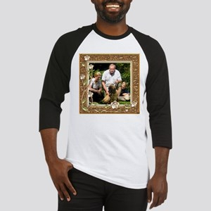 Personalizable Golden Flowers Frame Baseball Jerse