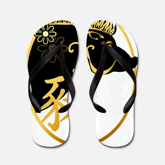 Year Of The Pig -Black Boar Trans Flip Flops