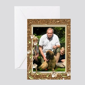 Personalizable Golden Flowers Frame Greeting Card