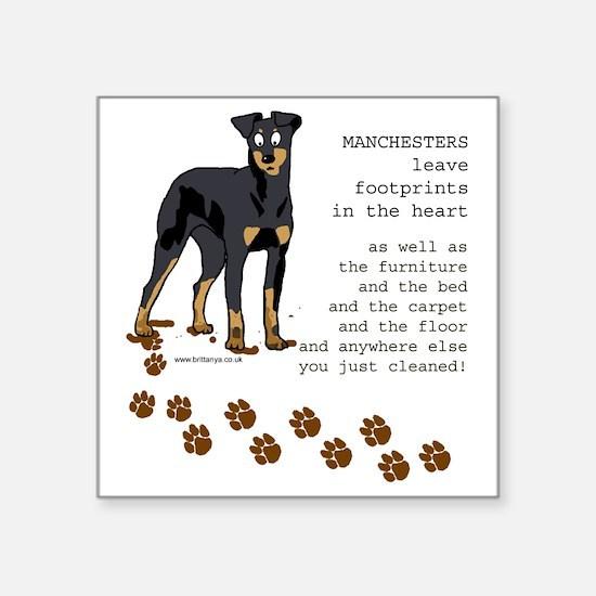 "footprints-manchester copy. Square Sticker 3"" x 3"""