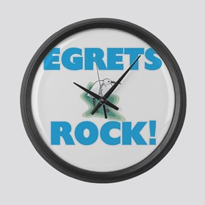 Egrets rock! Large Wall Clock