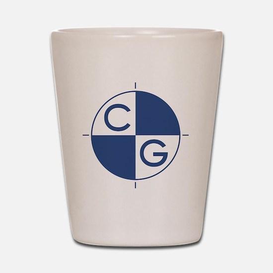 CG_blue_white Shot Glass